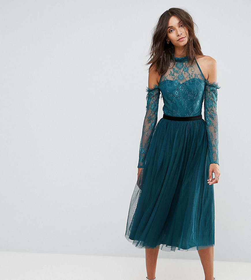 ASOS TALL PREMIUM Tulle Cold Shoulder Midi Prom Dress - Green