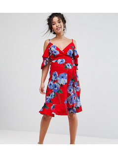 Queen Bee Wrap Front Cold Shoulder Tea Dress In Large Floral Print - Red