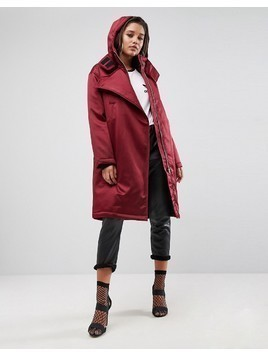 ASOS Clean Parka with Flap - Red