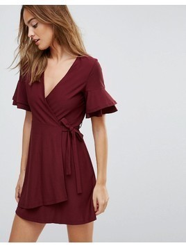 ASOS Mini Wrap Dress With Double Flutter Sleeve - Red