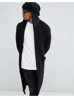 Bershka Knitted Cardigan With Hood In Black - Black
