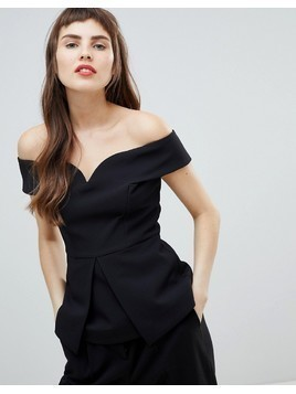 River Island Off The Shoulder Structured Top - Black