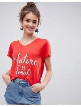 Blend She Caraz Future Is Female Print T-Shirt - Red