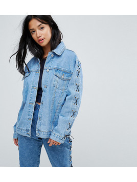 Chorus Petite Lace Up Sleeves Oversized Denim Jacket - Blue