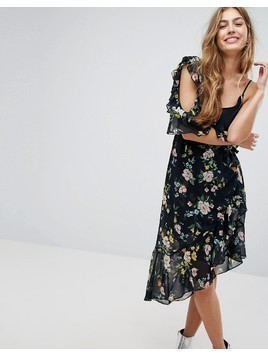 Bershka One Sleeve Floral Tea Dress - Black