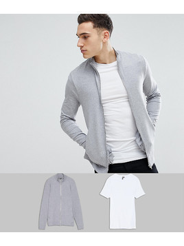 ASOS Muscle Track Jacket and Muscle T Shirt Multipack - Multi