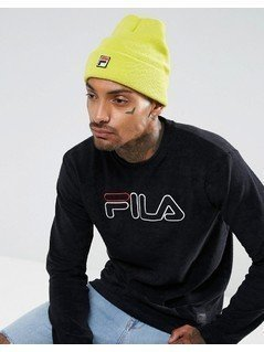 Fila Beanie With Small Box Logo In Yellow - Yellow