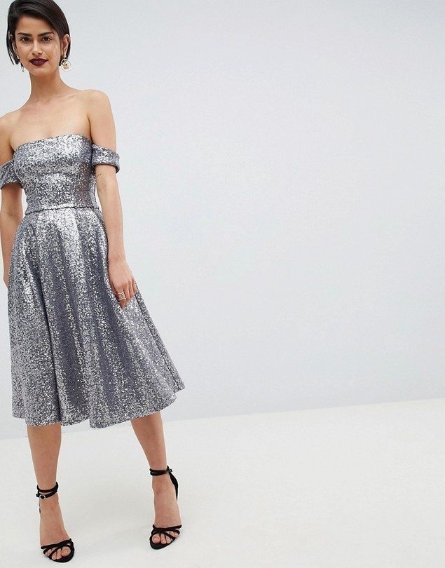 City Goddess Sequin Bardot Midi Dress - Silver
