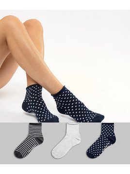 French Connection 3 pack stripe and polka dot socks - Navy