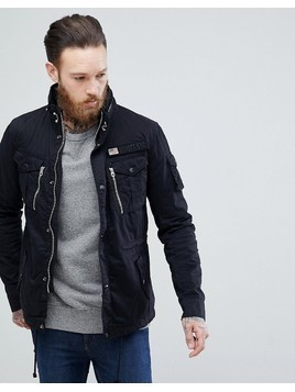 Schott Squad Military Overshirt Jacket in Black - Black