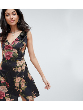 Parisian Tall Floral Print Wrap Dress With Frill Shoulder - Black