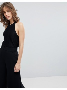 Selected Femme Sleeveless Knitted Top - Black