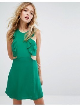 Bershka Frill And Cut Out Side Tea Dress - Green