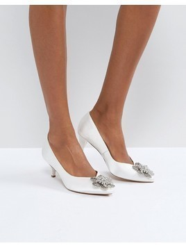 ASOS SOYA Bridal Embellished Kitten Heels - Cream