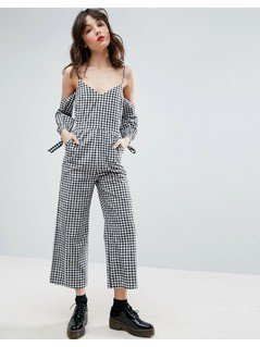 ASOS Cold Shoulder Jumpsuit in Cotton Gingham Print - Multi
