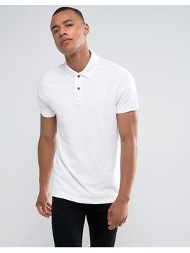 Hollister Slim Fit Pique Polo Seagull Embroidery in White - White