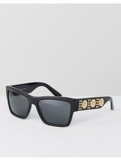 Versace Square Sunglasses with Side Studs - Black