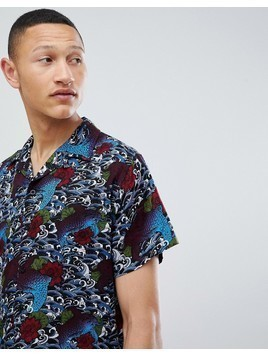 Brave Soul Short Sleeve Tattoo Print Shirt With Revere Collar - Navy