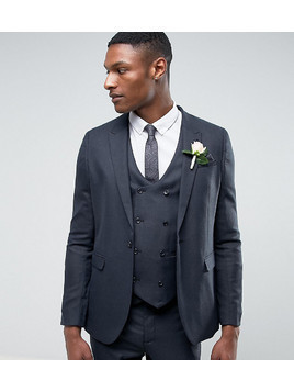 ASOS TALL WEDDING Skinny Suit Jacket in Blue Micro Woven Texture - Blue