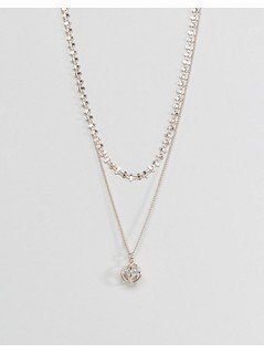 ASOS Fine Bar Chain With Diamond Charm Multirow Necklace - Copper