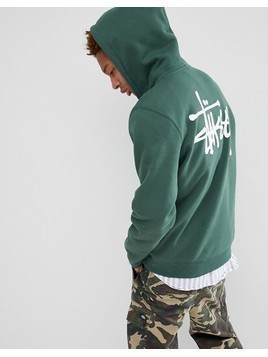 Stussy Hoodie With Back Logo Print in Green - Green