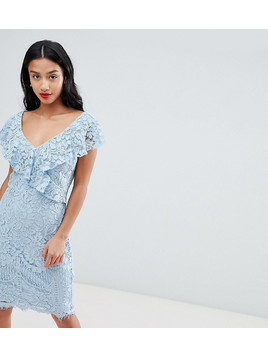City Goddess Petite Lace Pencil Dress With Frill Overlay - Blue