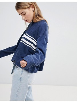 Hollister Oversized Crop Sweat with Raw Hem and Stripe - Blue