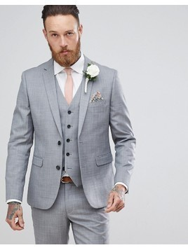 Harry Brown Winter Wedding Charcoal Tonal Skinny Fit Suit Jacket - Grey