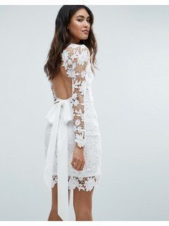 Club L Long Sleeve Crochet Dress With Open Back&Tie Bow - Cream