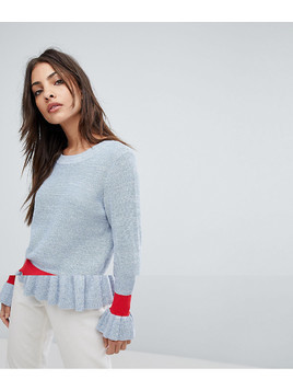 Selected Jumper With Ruffle Hem And Cuff - Blue