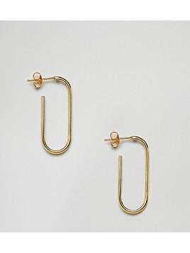 ASOS DESIGN Gold Plated Sterling Silver Oval Tube Hoop Earrings - Gold