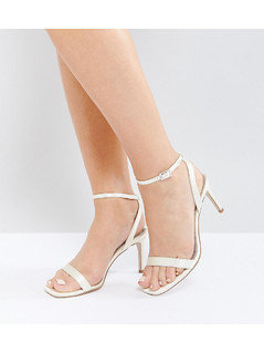 ASOS HIDEAWAY Wide Fit Heeled Sandals - White