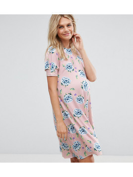 ASOS Maternity PETITE Swing Dress with Puff Sleeve in Pretty Floral - Multi