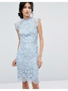 Chi Chi London Scallop Lace Pencil Dress - Blue