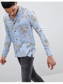Religion Long Sleeve Revere Shirt In Blue With Rose Print - Blue