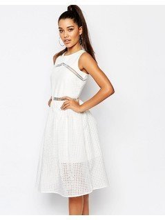 River Island Lace Midi Prom Dress - White