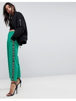 ASOS Premium Scuba Wide Leg Joggers with Printed Side Tape - Green