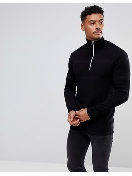 Kronstadt Cotton Half Zip Jumper - Black