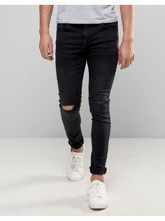 Pull&Bear Super Skinny Jeans With Knee Rips In Washed Black - Grey
