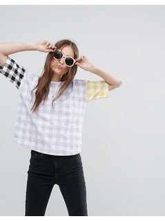 ASOS T-Shirt with Blocked Gingham - Multi