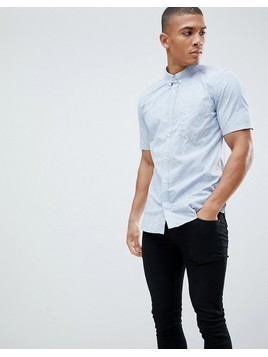 French Connection Floral Short Sleeve Shirt - Navy
