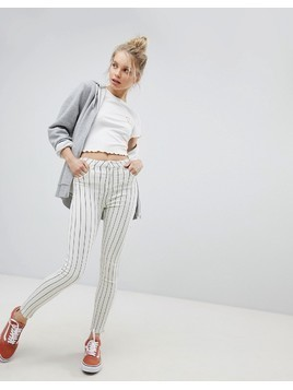 Bershka Stripe Denim Jean - Cream