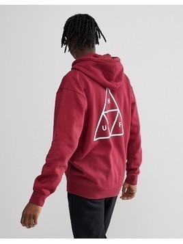 Huf Triple Triangle Overhead Hoodie In Burgundy - Red