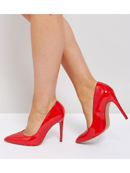 ASOS PARIS Wide Fit Pointed High Heels - Red