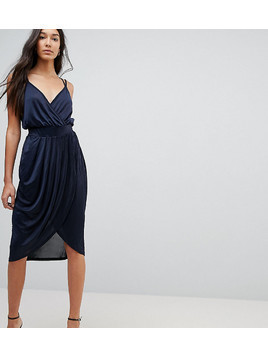Vero Moda Tall Draped Wrap Front Dress - Navy