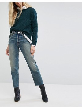 ASOS RECYCLED FLORENCE Authentic Straight Leg Jeans in Melrose Green Cast with Raw Hem - Blue