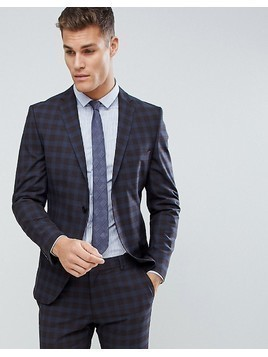 Selected Homme Slim Suit Jacket In Check - Blue