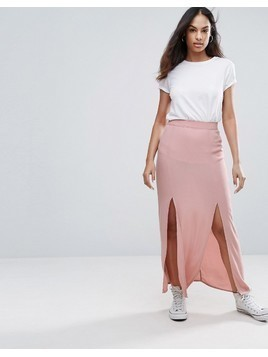 New Look Split Front Maxi Skirt - Pink