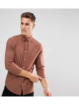 Selected Homme Slim Fit Shirt In Brushed Cotton - Red