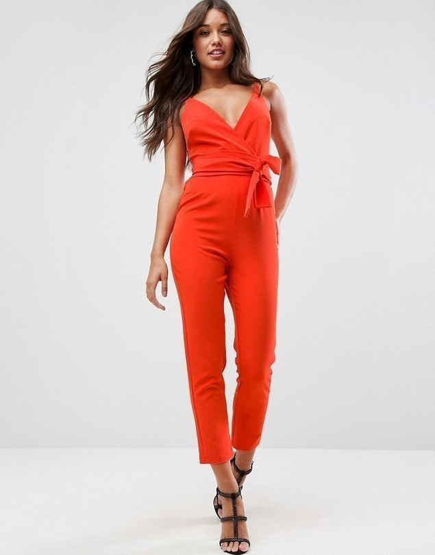ASOS Wrap Front Jumpsuit with Peg Leg and Self Belt - Red